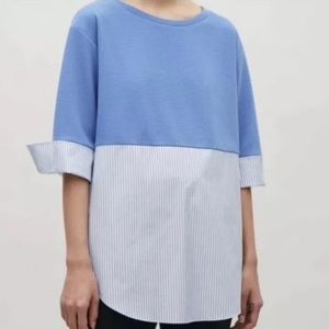 COS Striped Accent Mixed Media Sweater Top